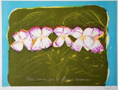 Mai cousu par les fleurs - numérotée 75/200, Jean Messagier