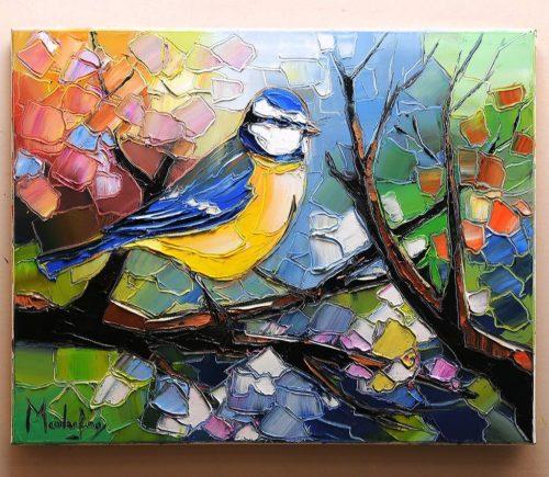 La mésange bleue au printemps